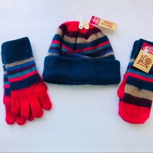Vintage Set of Hat, Gloves And Mittens 1980s USA